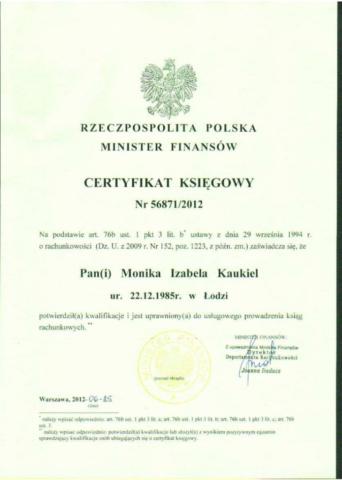 certyfikat księgowa M Kaukiel Egida