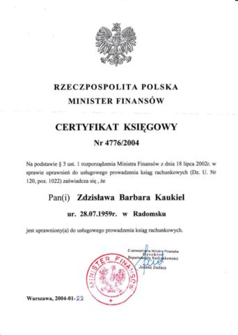 certyfikat księgowa Z Kaukiel Egida