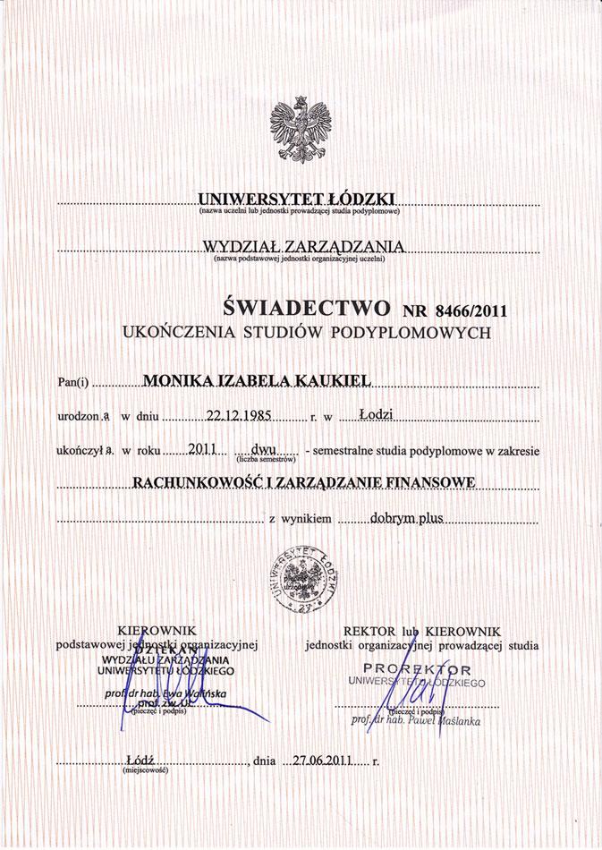 certyfikat księgowa M Kaukiel Egida 2