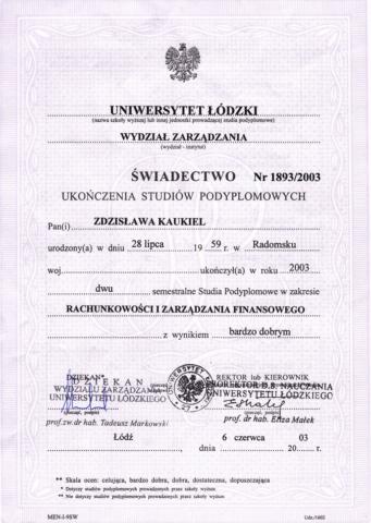 certyfikat księgowa Z Kaukiel Egida 2